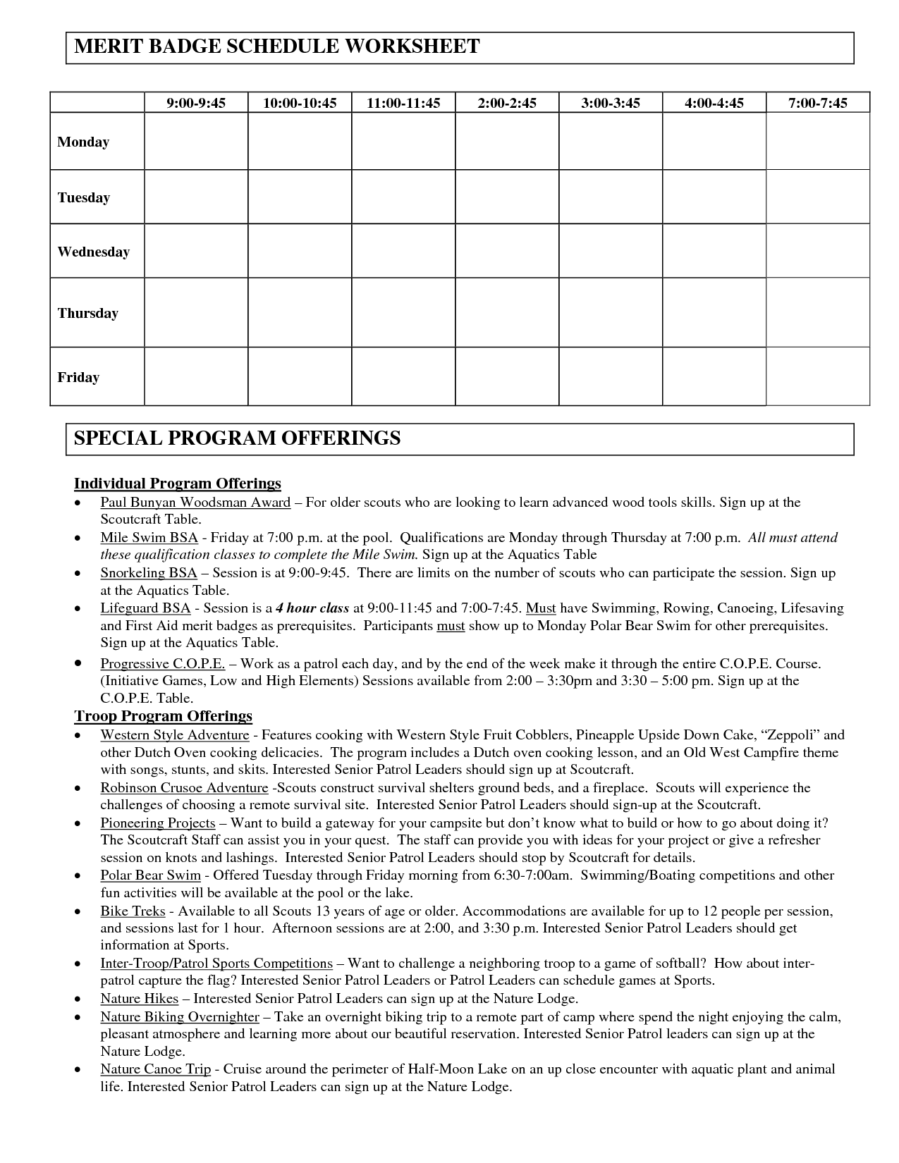 Merit Badges Worksheet
