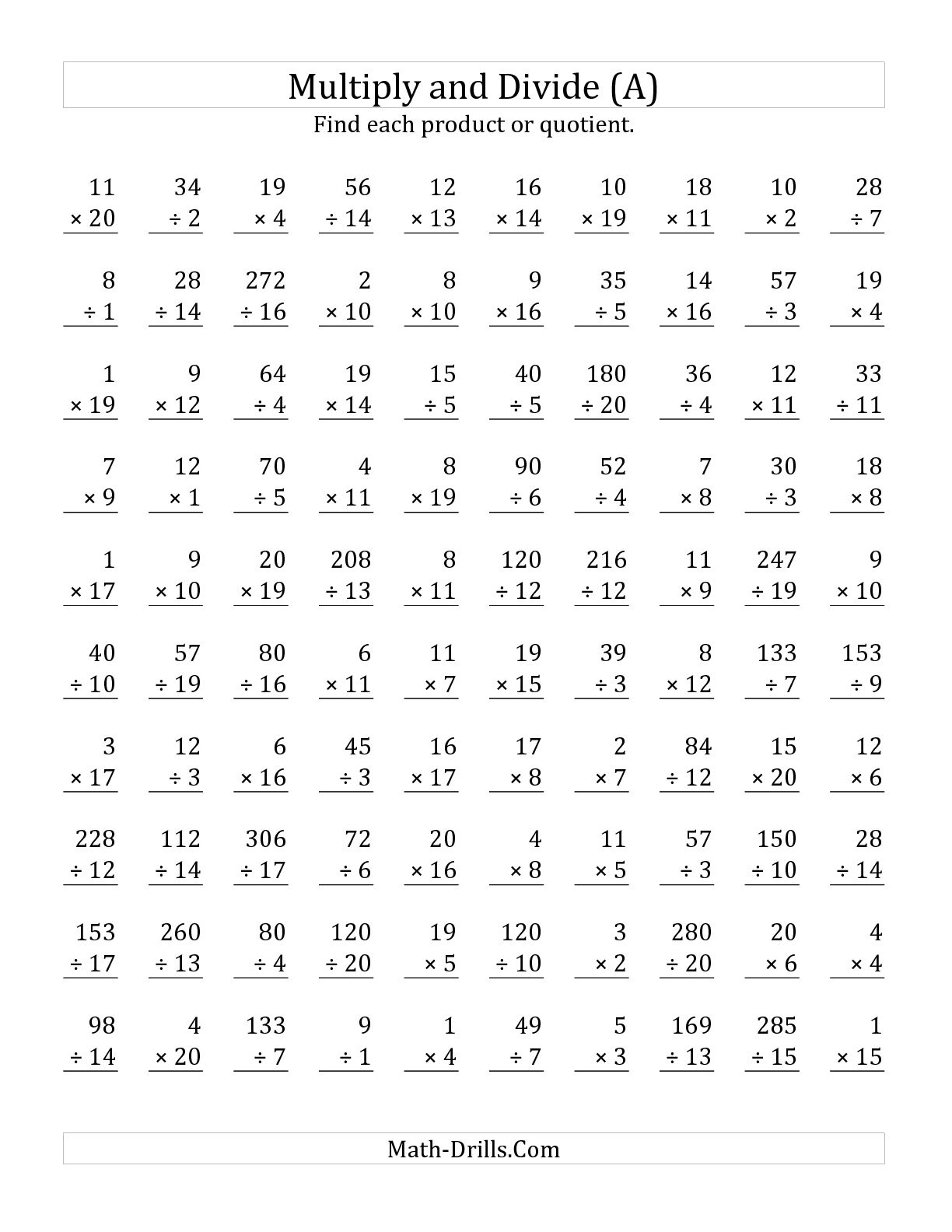 13 Best Images Of Math Drill 100 Problems Worksheet