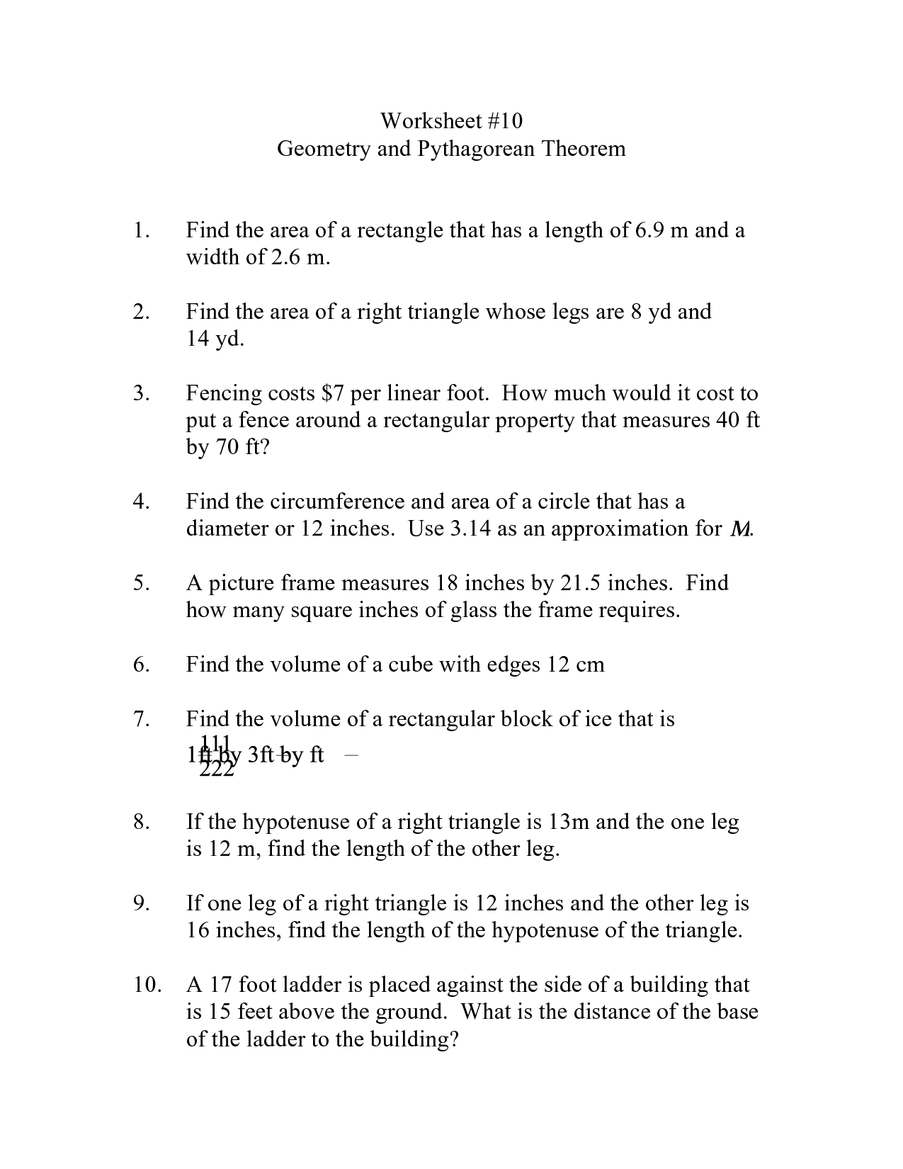 Pythagorean Theorem Word Problems Worksheet