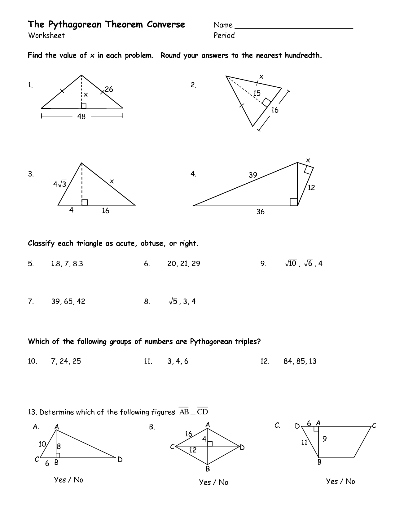 27 The Pythagorean Theorem Worksheet Answers