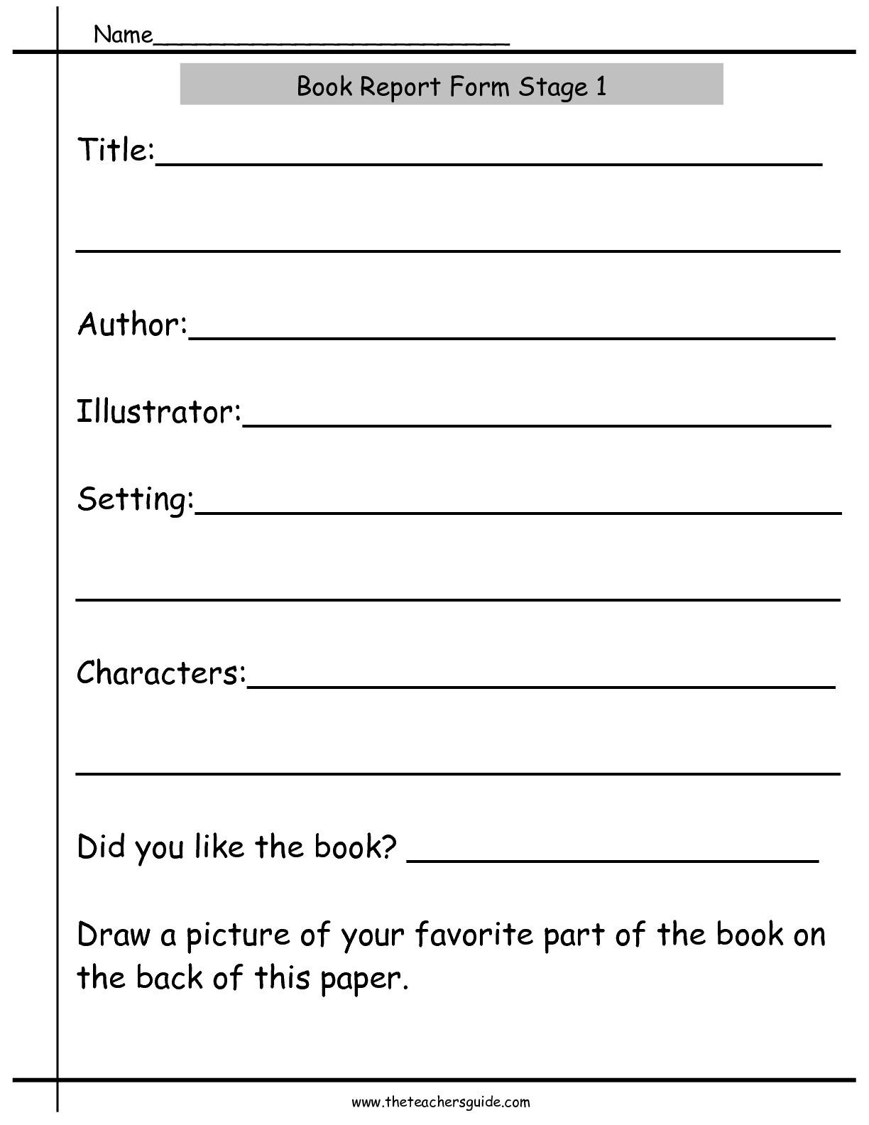 18 Best Images Of Kindergarten Book Report Worksheet