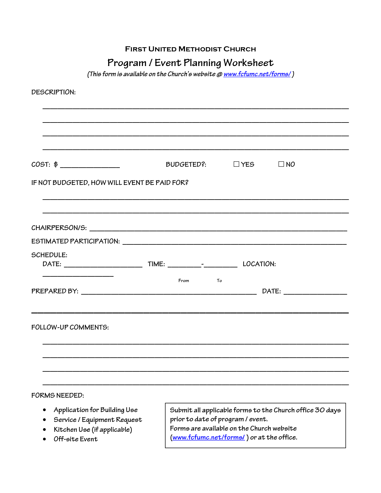 Church Planning Worksheet