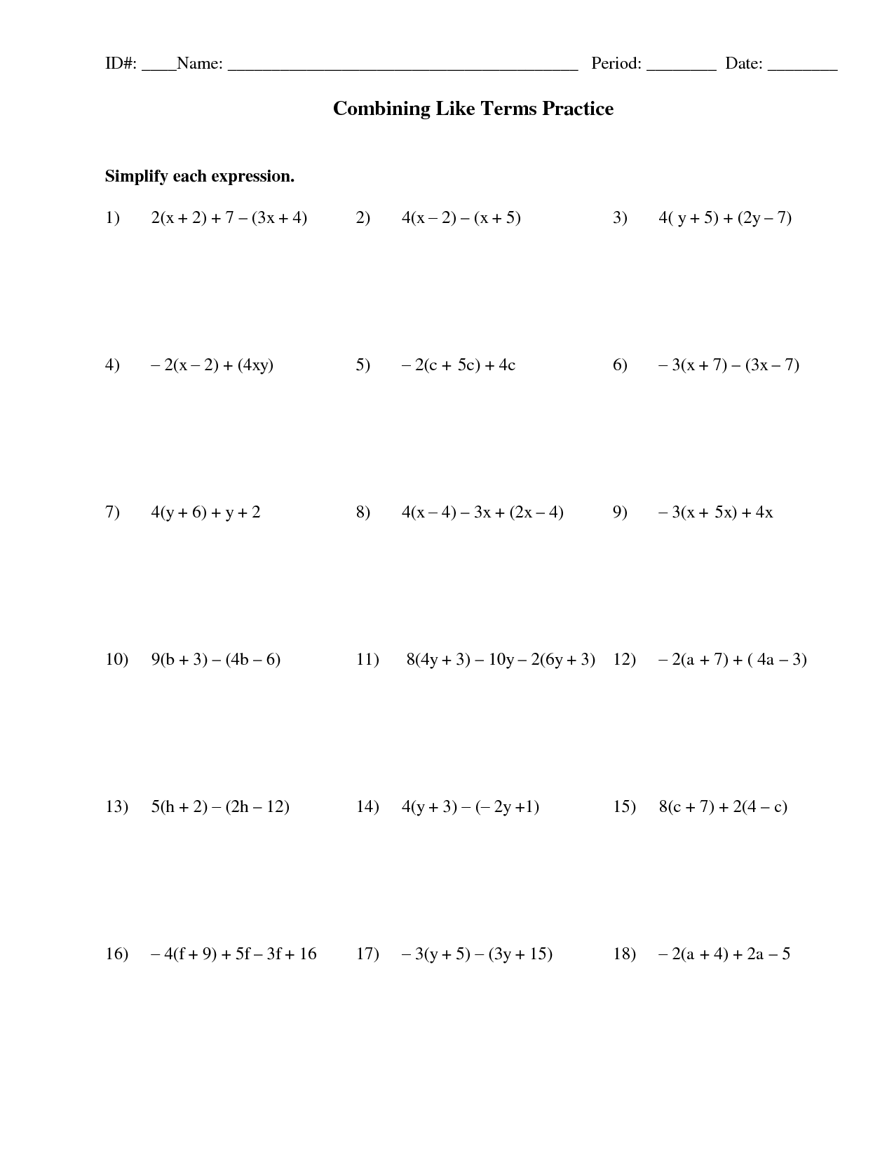 13 Best Images Of Combining Like Terms Worksheet Answer Key