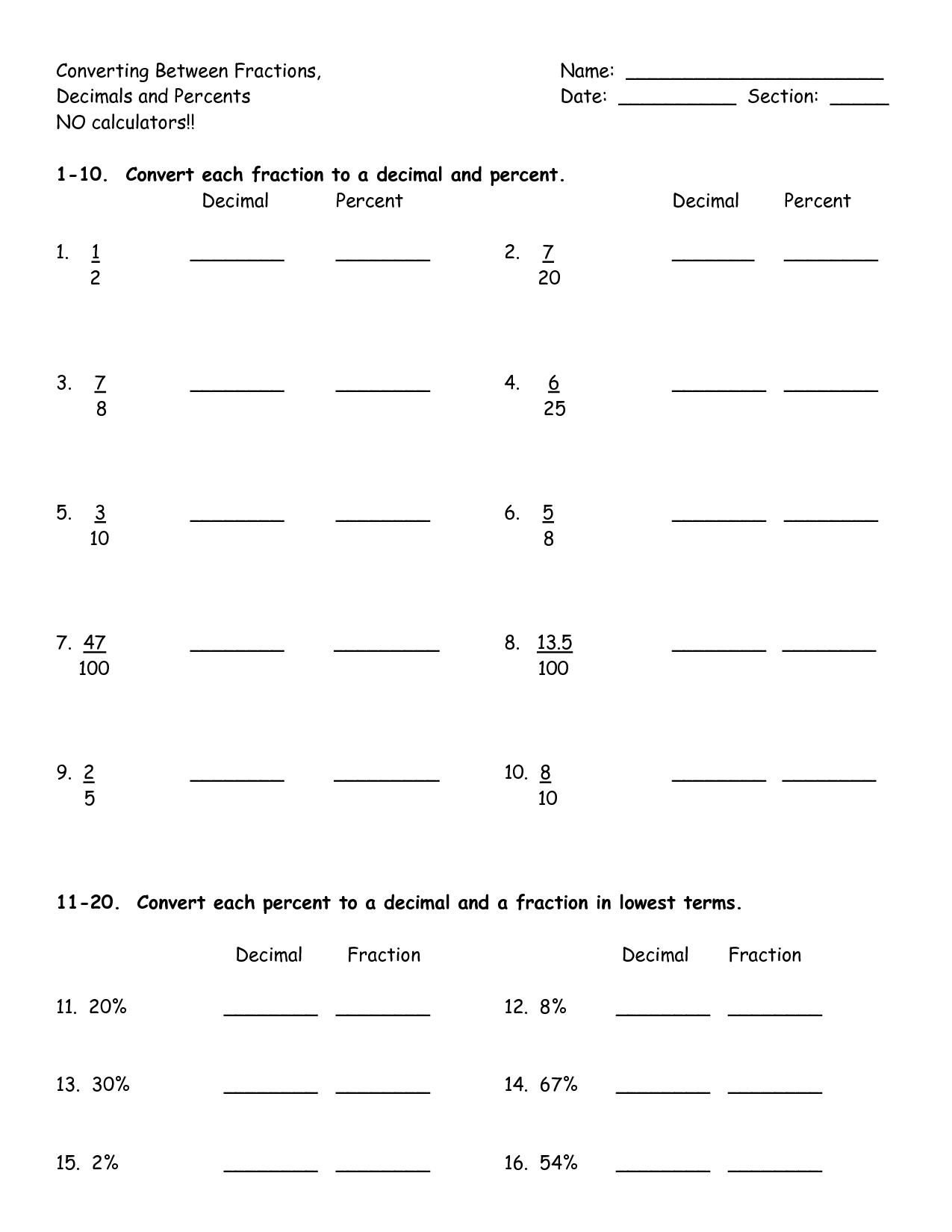 Converting Benchmark Fractions To Decimals Worksheet