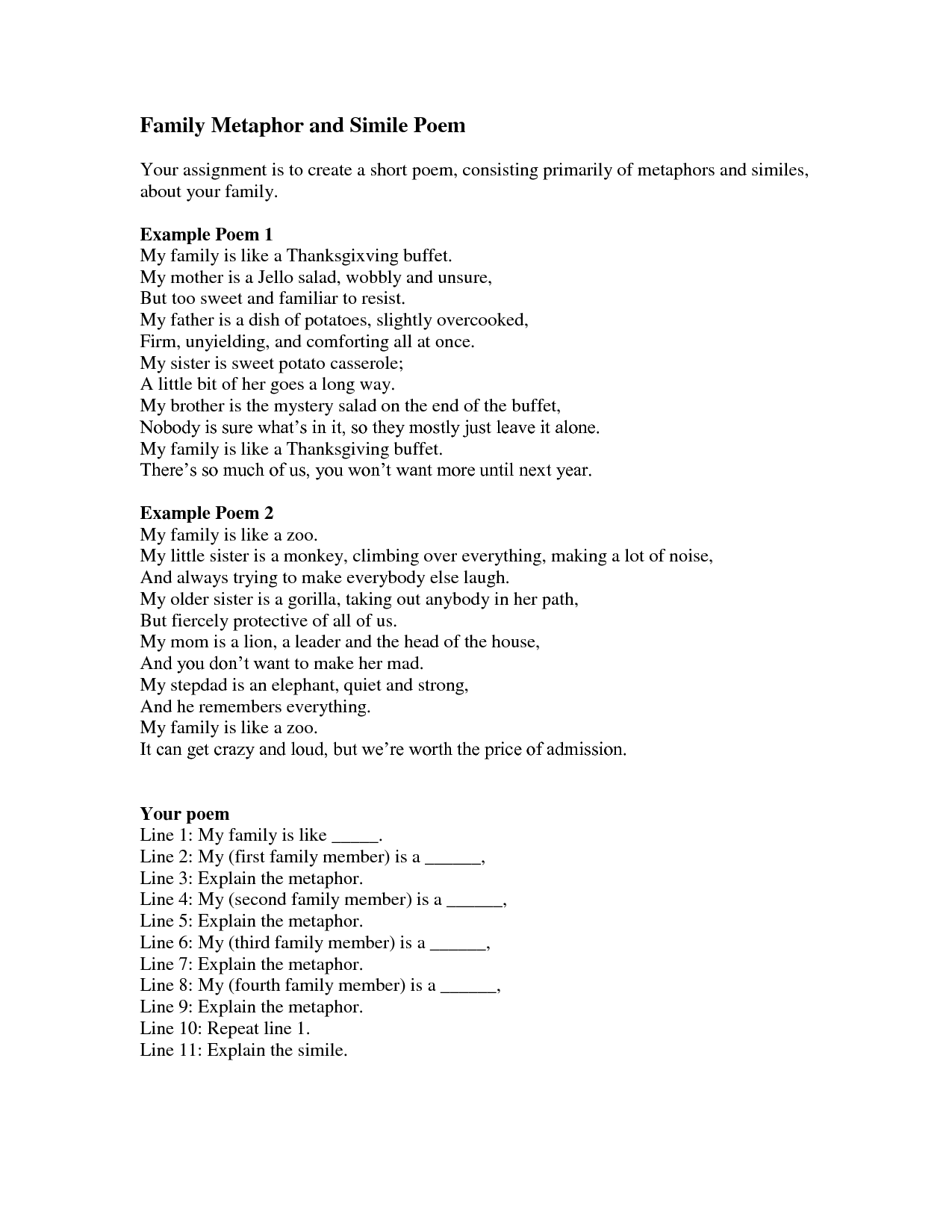 17 Best Images Of Simile Poem Worksheets
