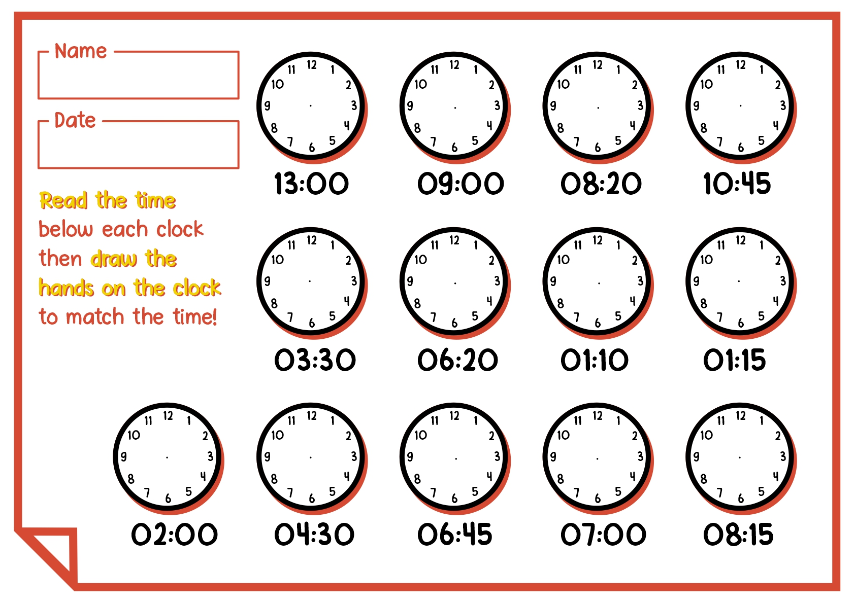 1st Grade Clock Worksheet Printable