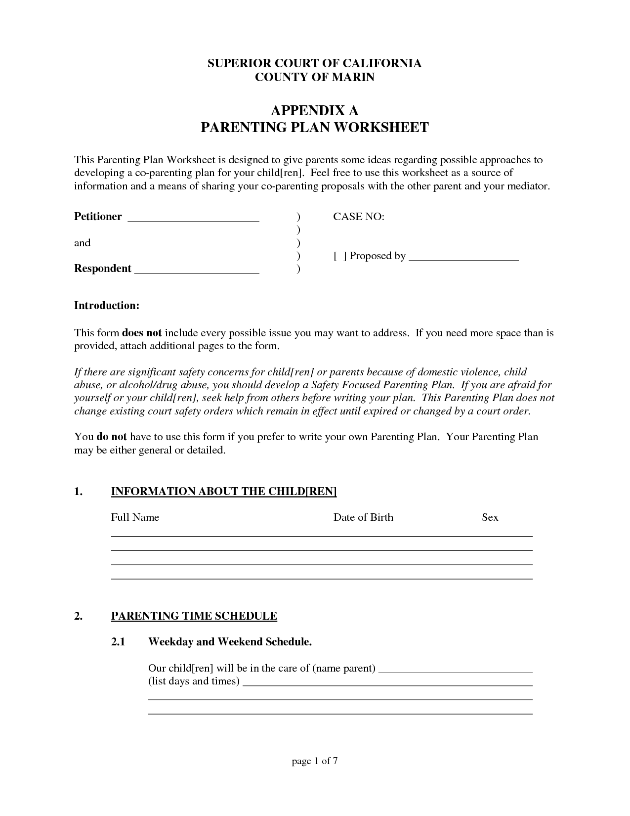 16 Best Images Of Parenting Plan Worksheet