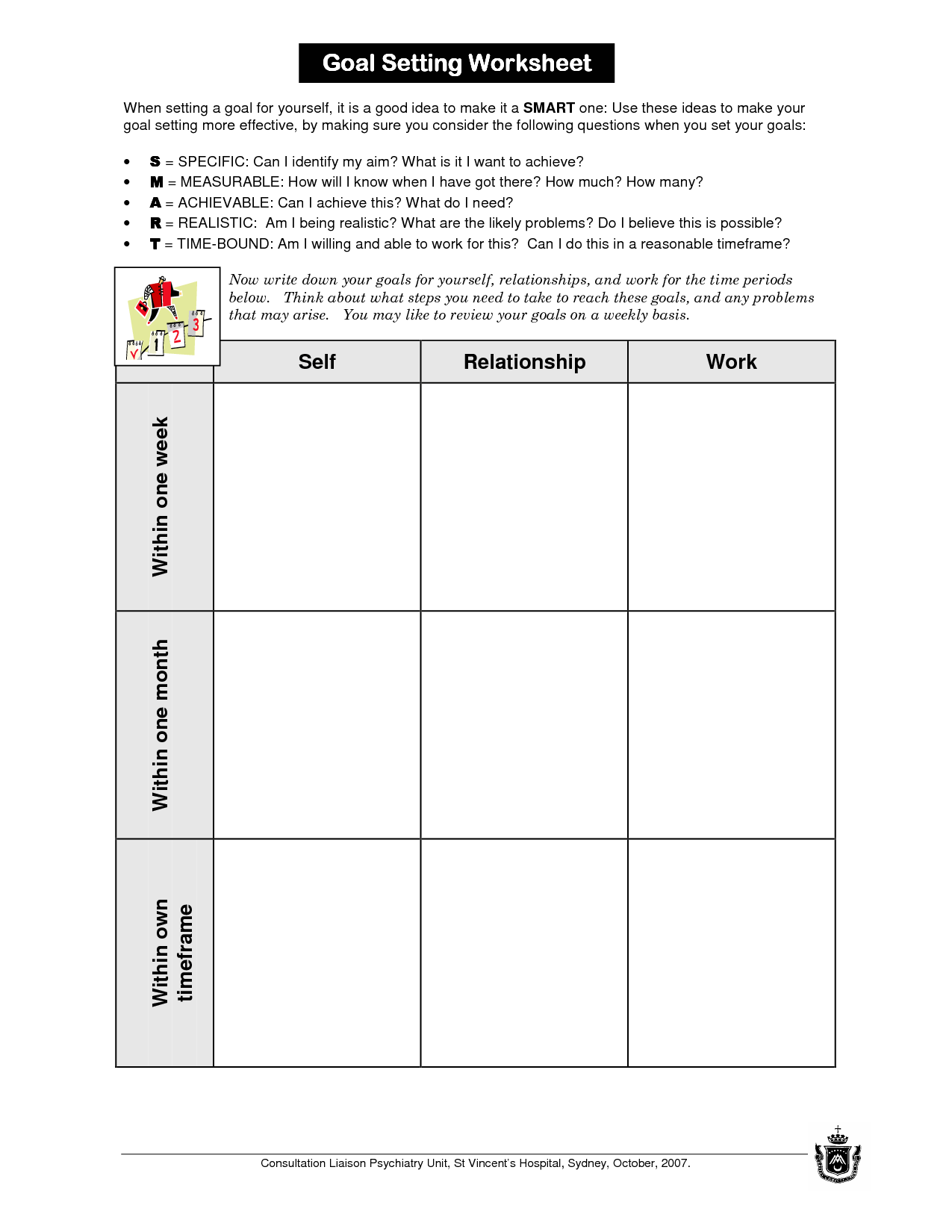 18 Best Images Of Professional And Personal Goals Worksheet