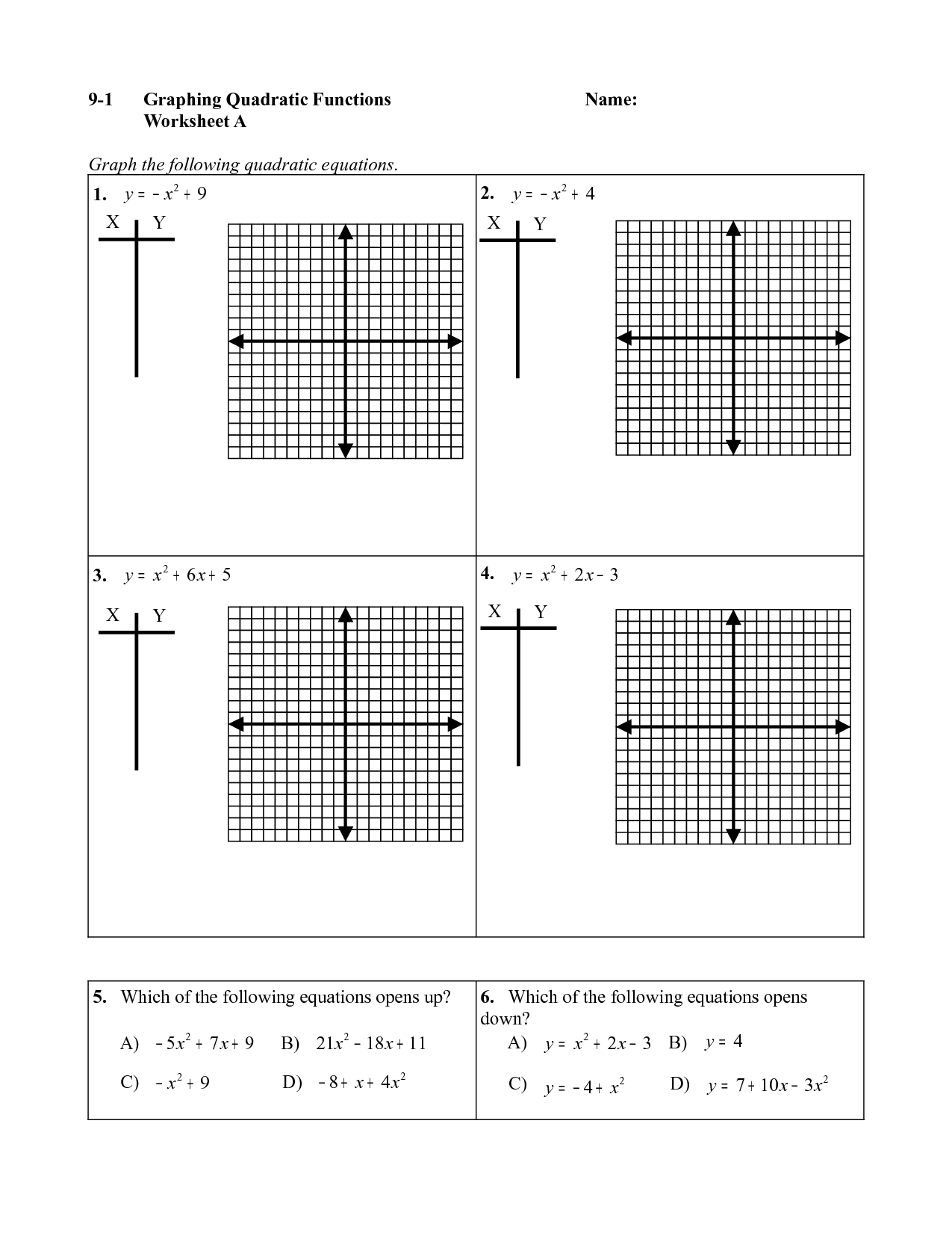 9 2 Solving Quadratic Equations By Graphing Answer Key