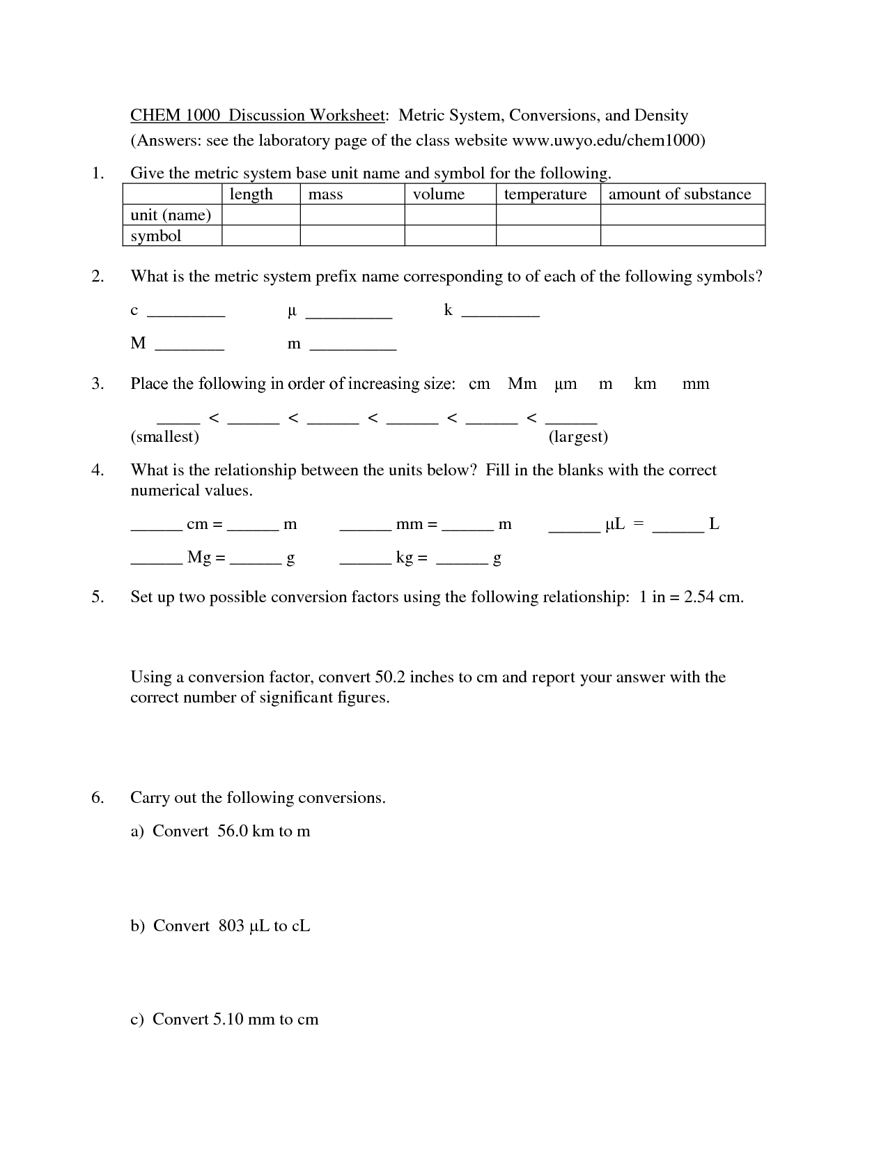 10 Best Images Of Metric Worksheets With Answers