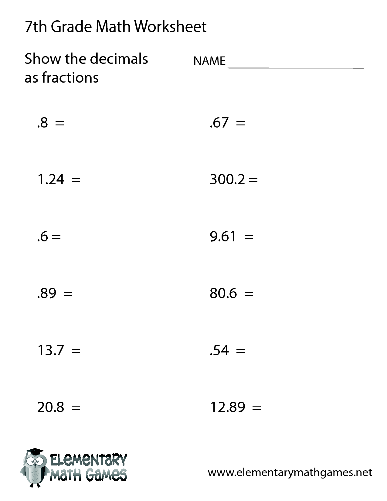 Fractions Worksheet For 7th Grade