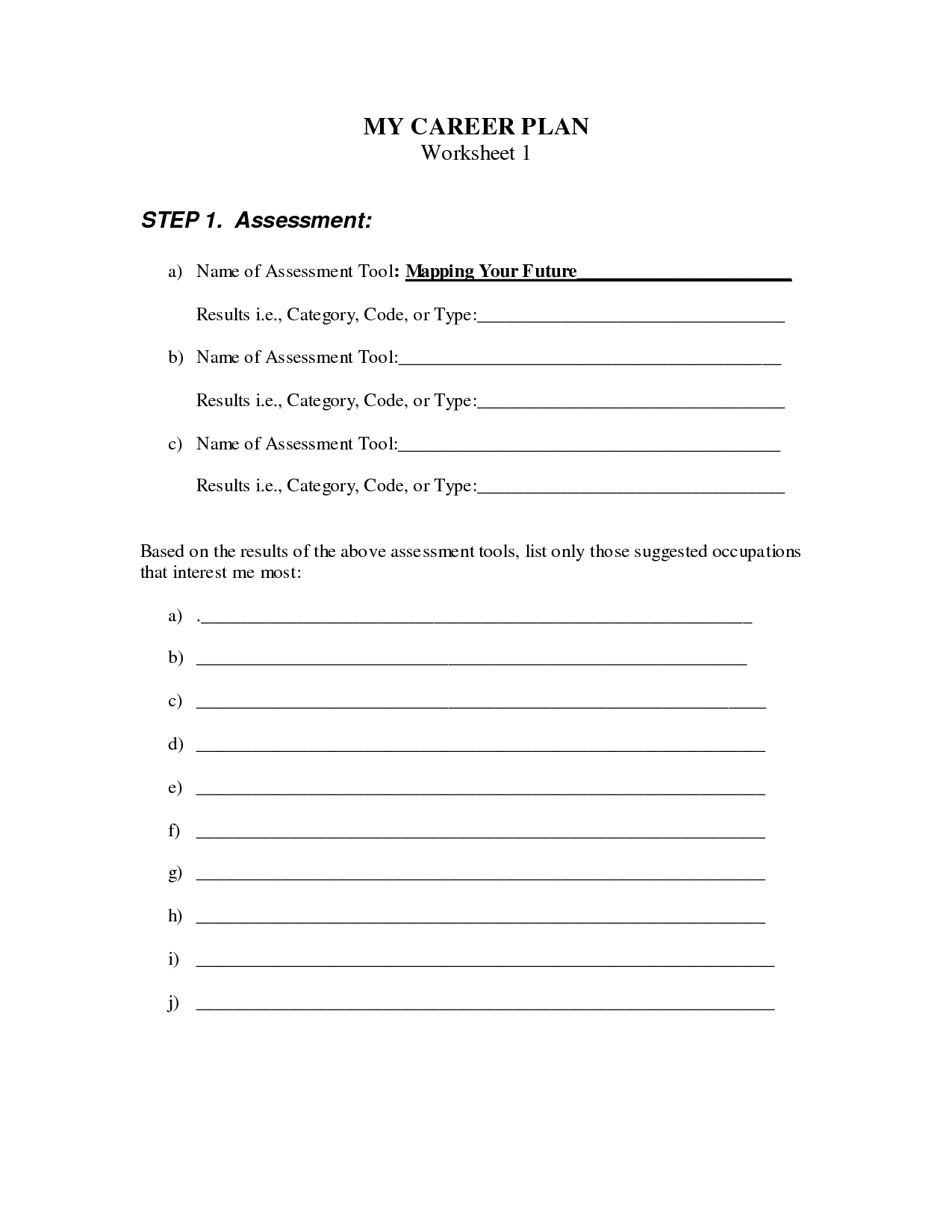 15 Best Images Of My Career Worksheet