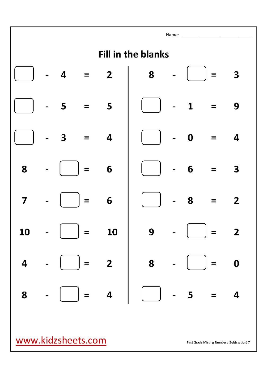 15 Best Images Of 1st Grade Subtraction Worksheets