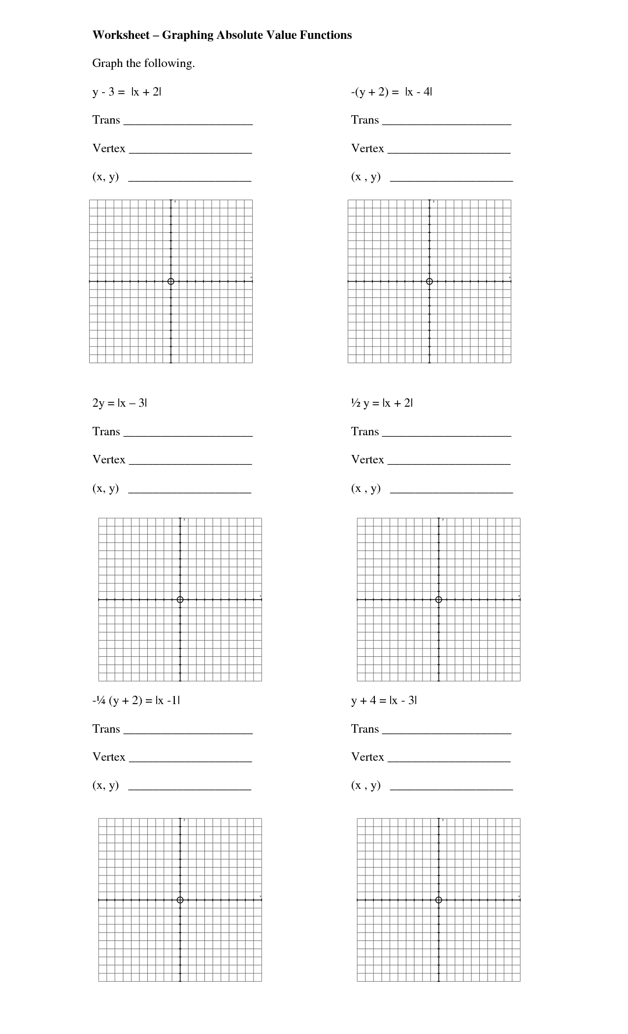 11 Best Images Of Absolute Value Worksheets