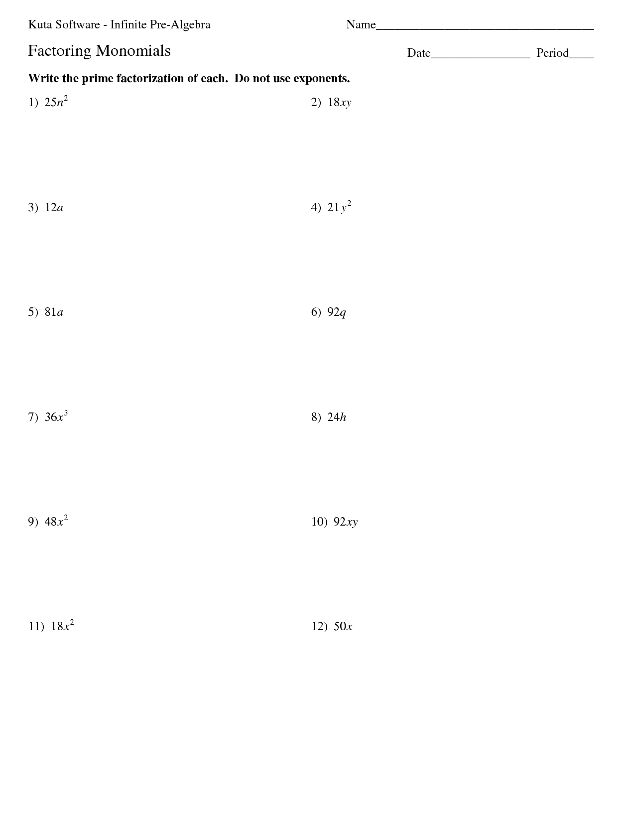 hight resolution of Worksheets Prime Factorization And Exponents   Printable Worksheets and  Activities for Teachers