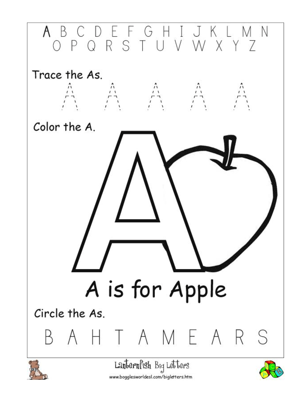 Alphabet Worksheet Category Page 1