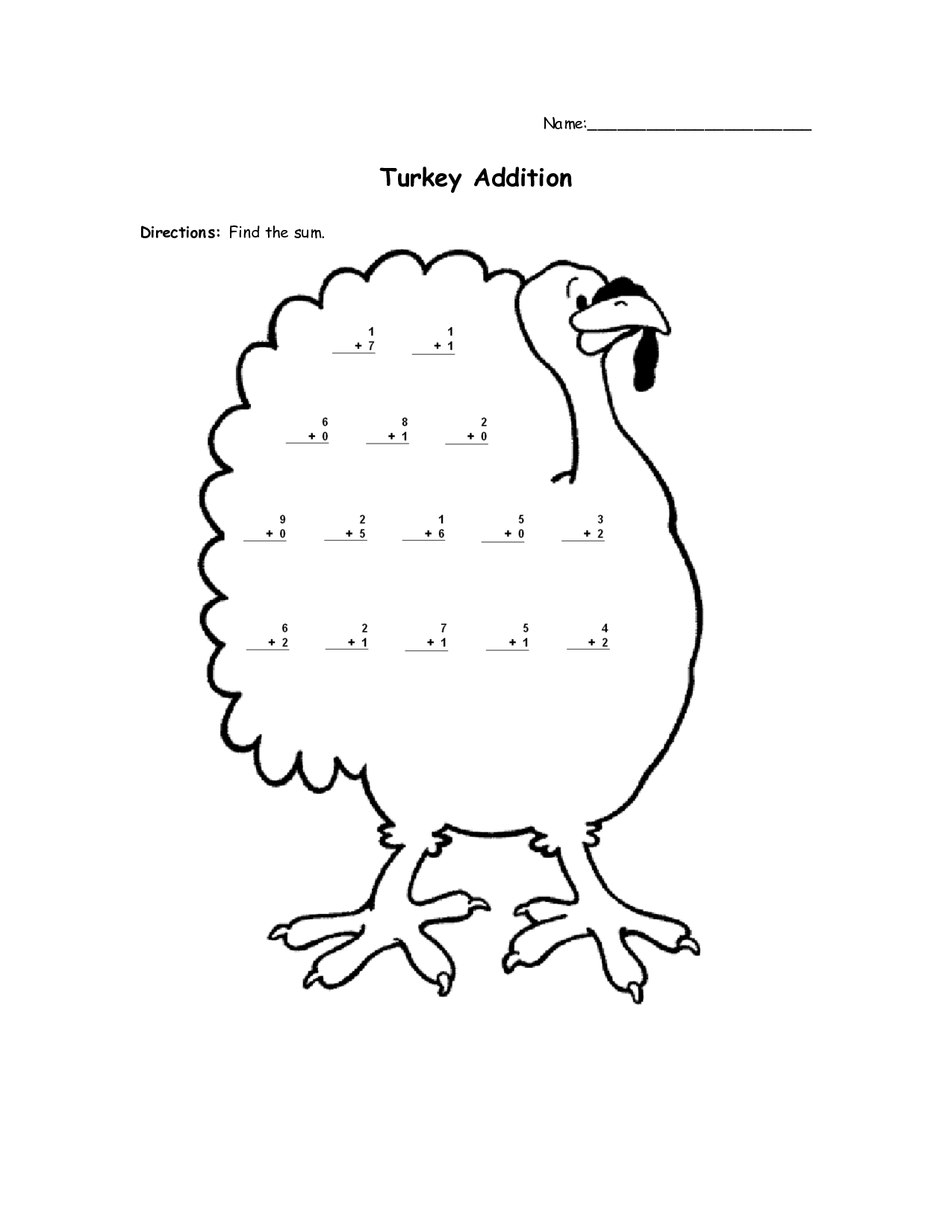 13 Best Images Of Thanksgiving Addition Worksheets