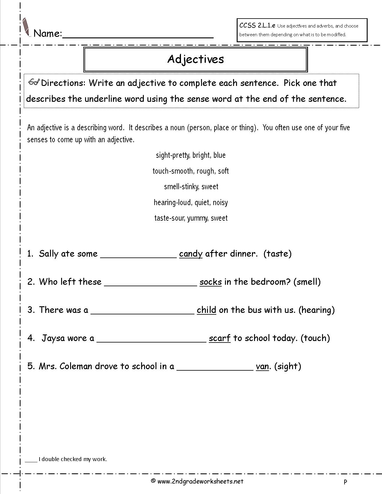 15 Best Images Of Adjective Worksheets For 5th Grade