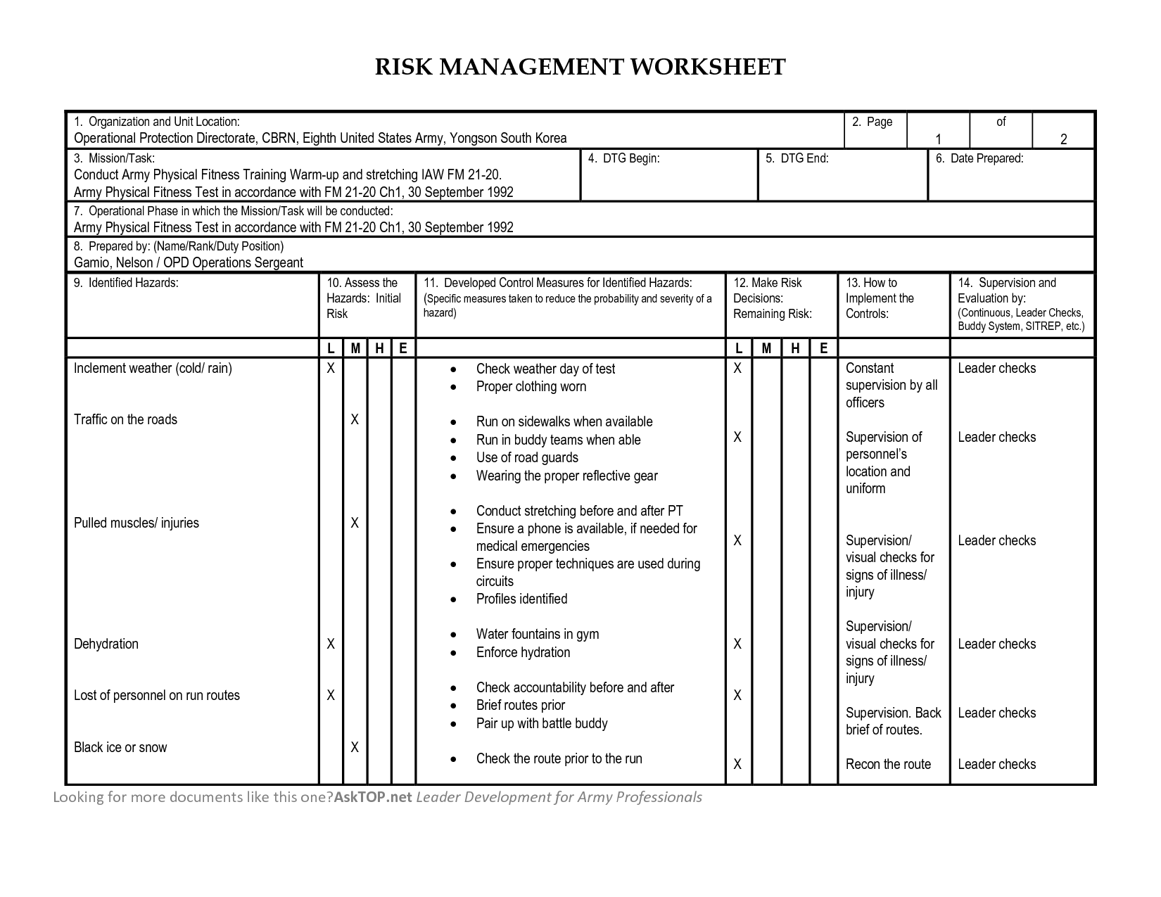 Deliberate Risk Assessment Matrix Worksheet Pictures To Pin