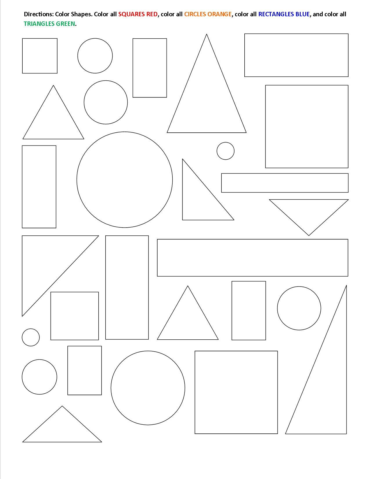 15 Best Images Of Color By Shape Worksheet