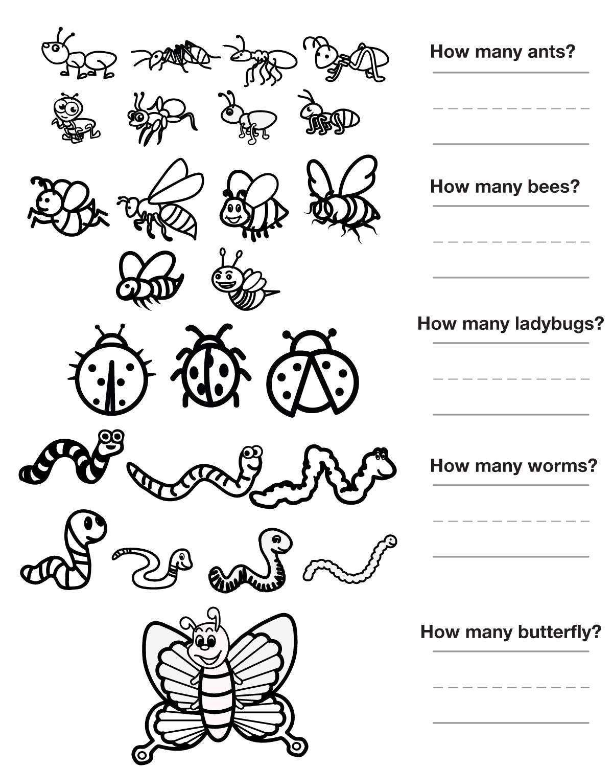 Inscet Garden Worksheet For Kindergarten