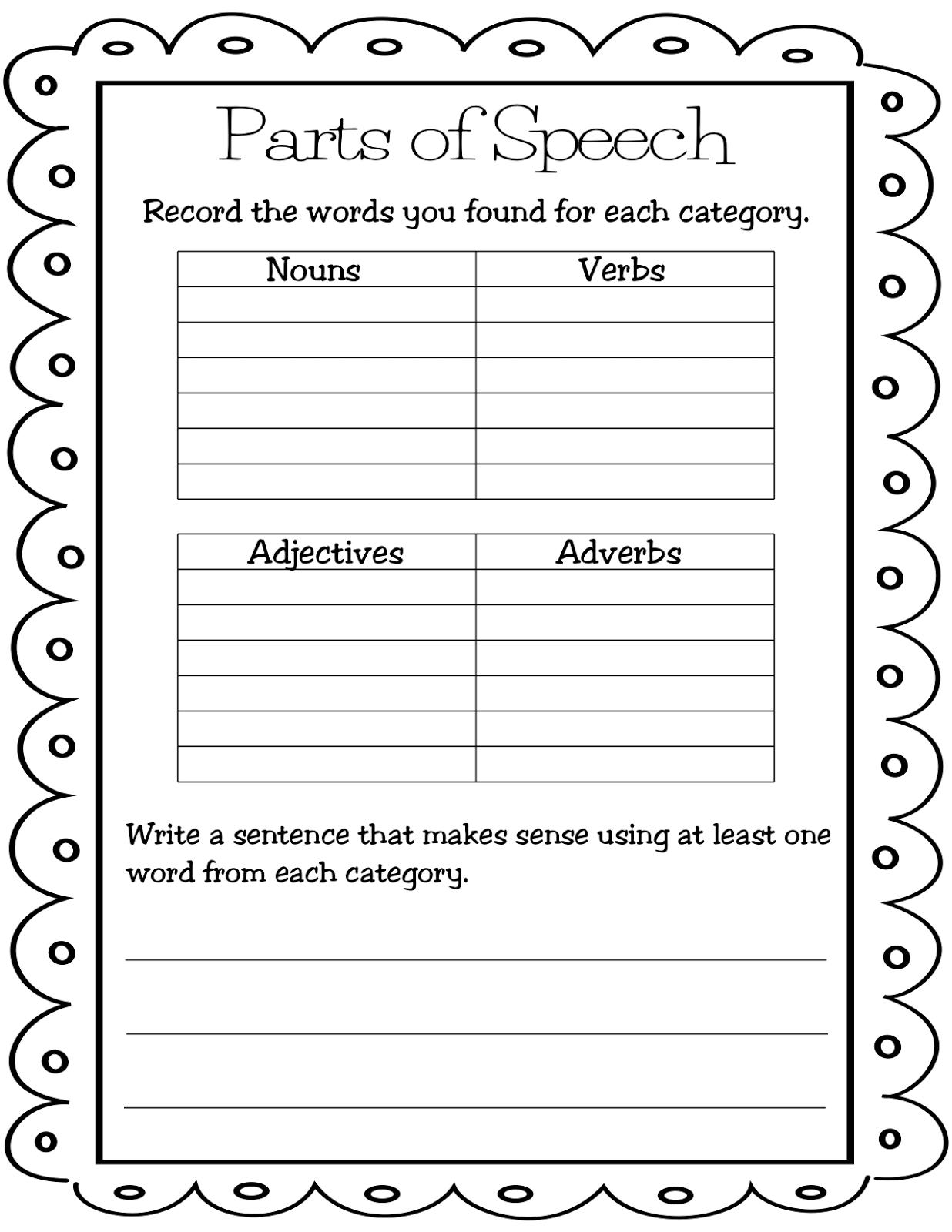 Nouns Verbs Adjectives Worksheet 3rd Grade Printable