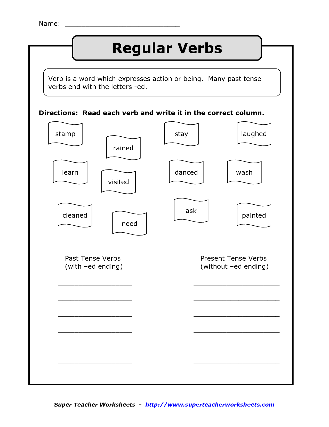 18 Best Images Of Past Tense Verbs Worksheets