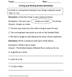 Simile And Metaphor Worksheet 6th Grade   Printable Worksheets and  Activities for Teachers [ 2200 x 1700 Pixel ]