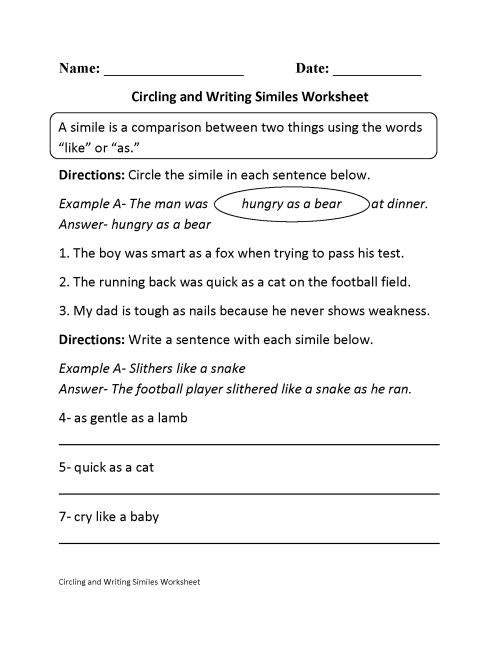 small resolution of Simile And Metaphor Worksheet 6th Grade   Printable Worksheets and  Activities for Teachers
