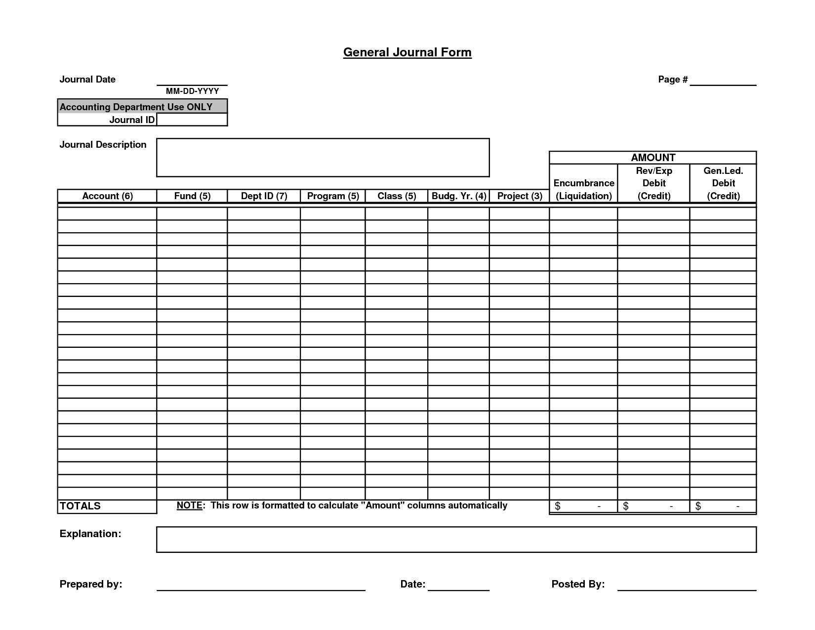 Journal Entry Worksheet Examples