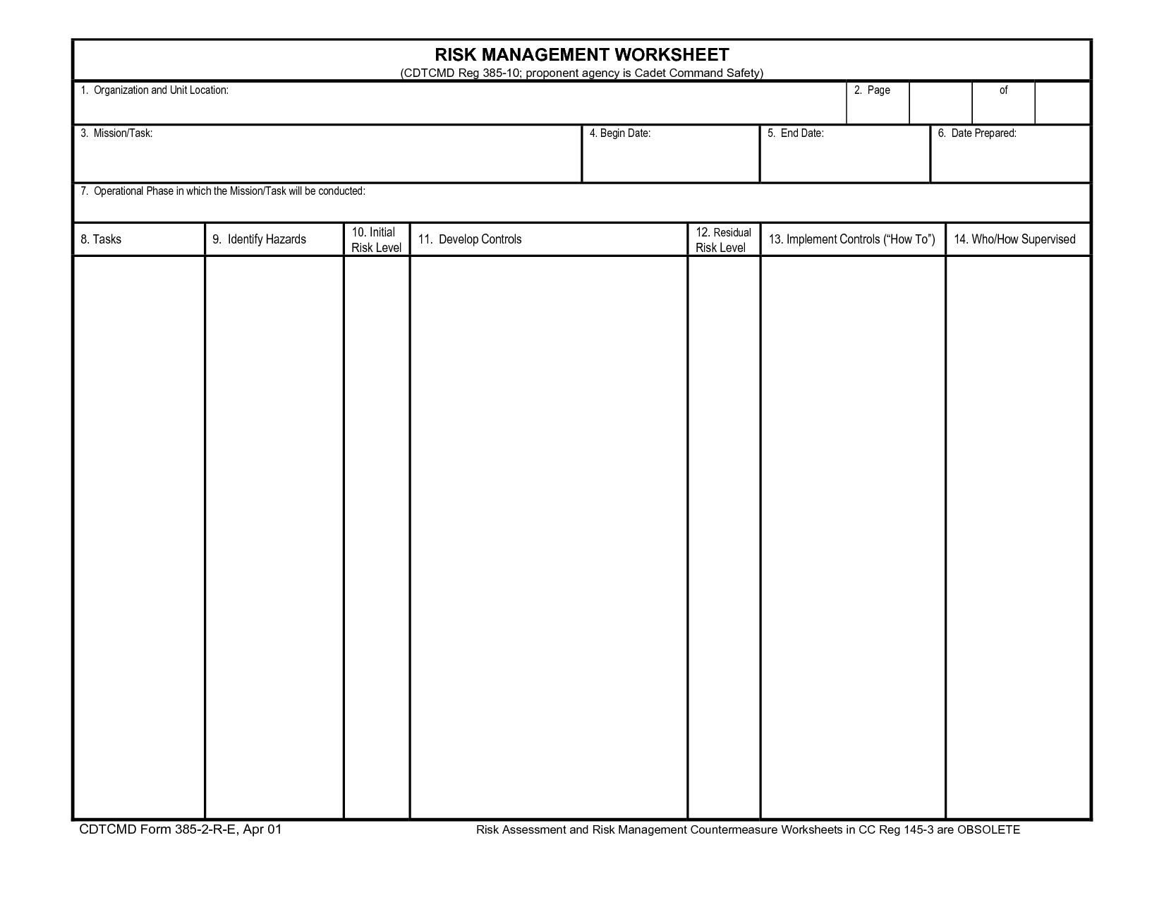 14 Best Images Of Risk Management Worksheet