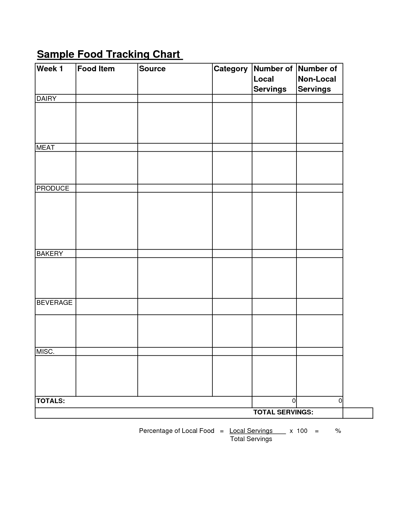 Tracking Chart Worksheet