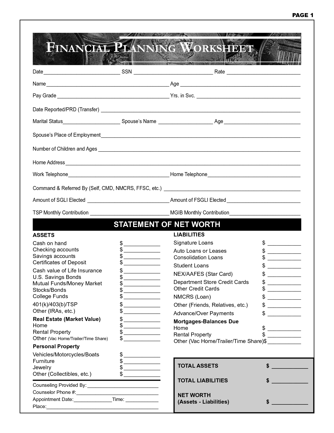 9 Best Images Of College Financial Planning Worksheet
