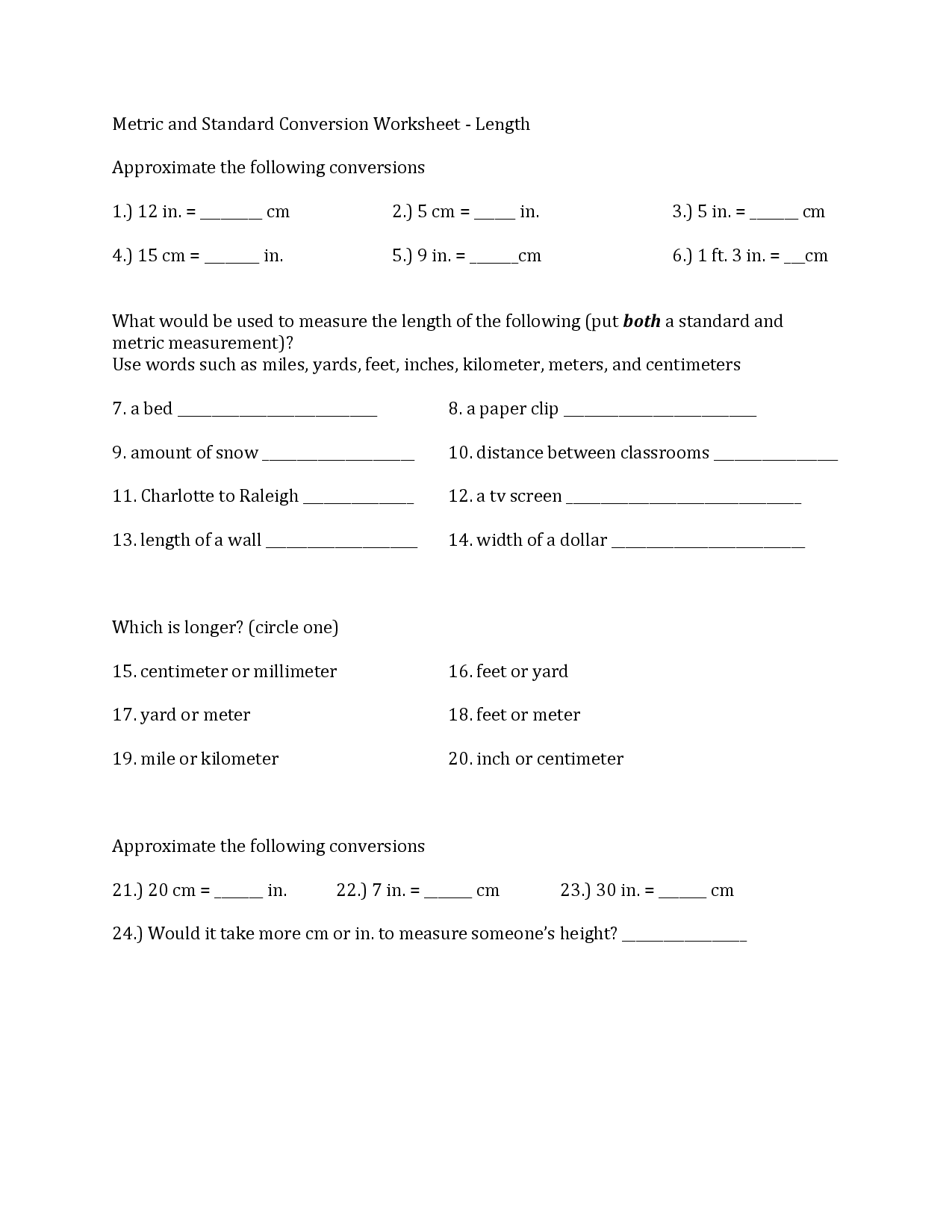 8 Best Images Of Converting Metric To Standard Worksheet