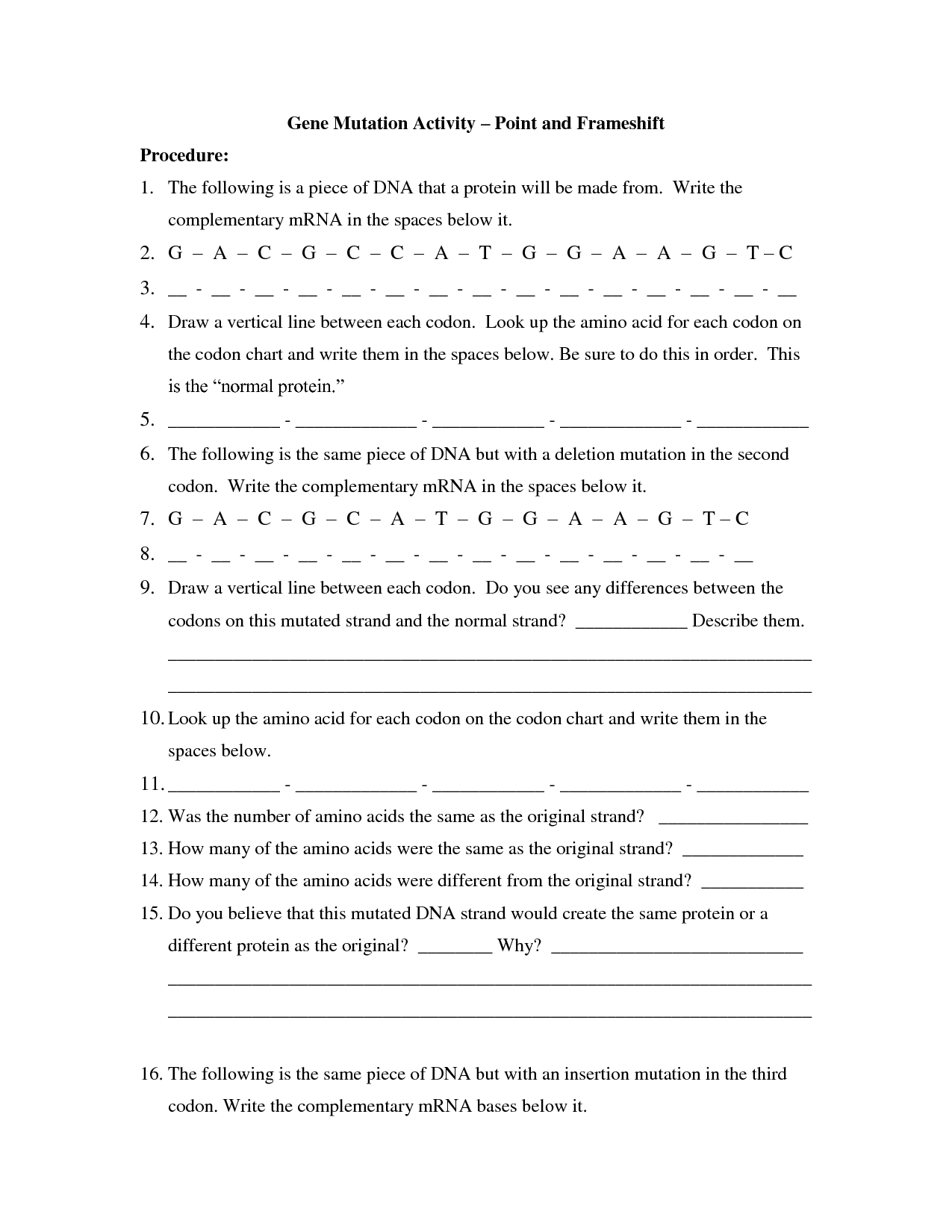 Codon Worksheet Answers