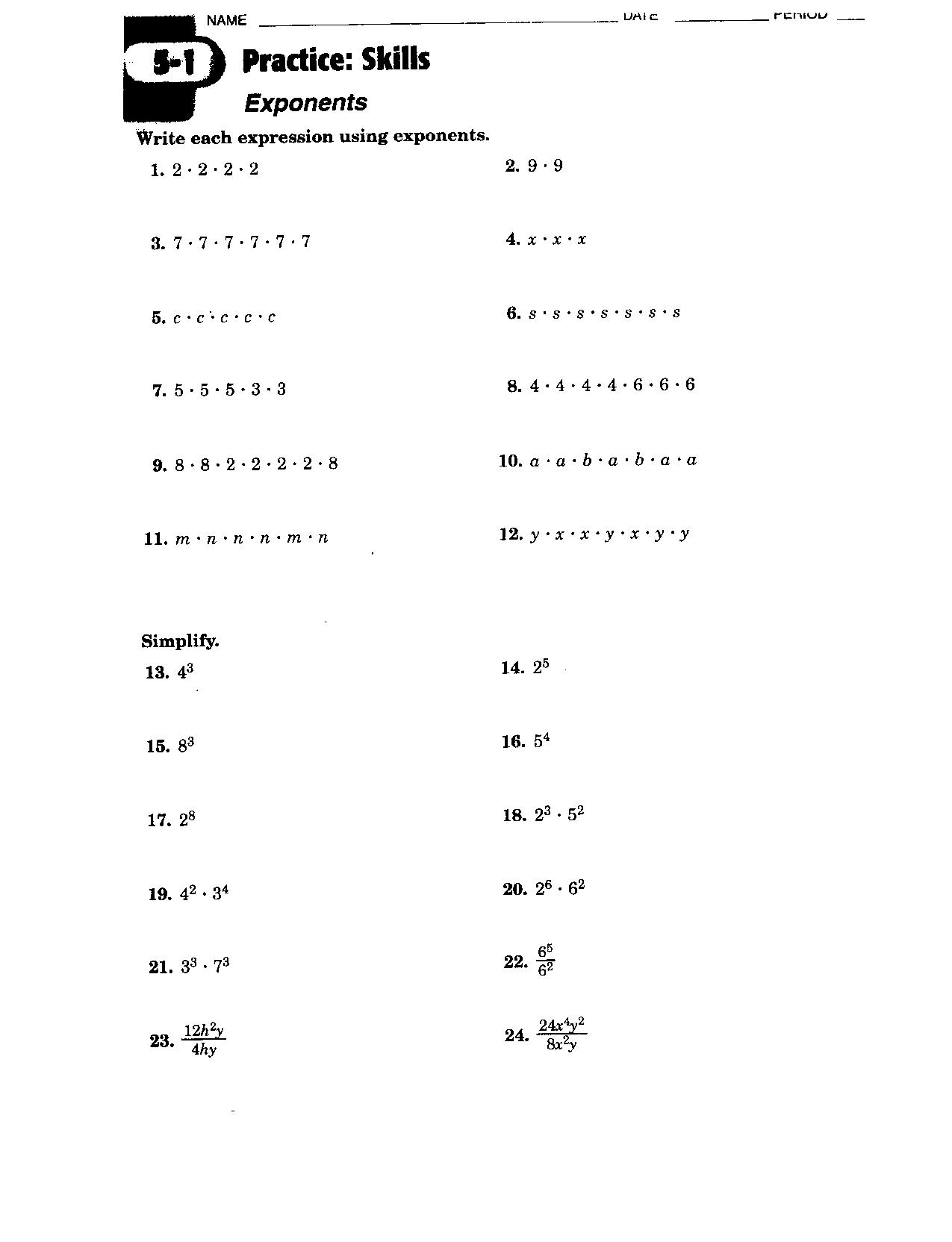 Math Worksheets Powers And Exponents