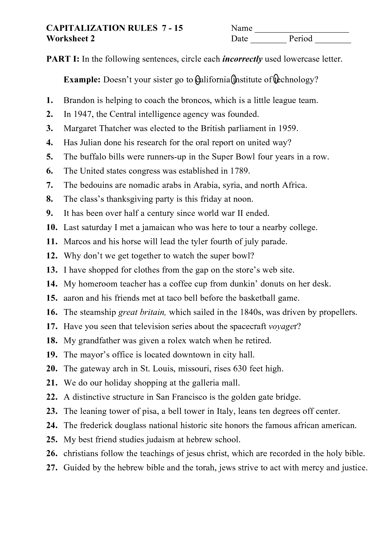 Worksheet Using Punctuation Marks