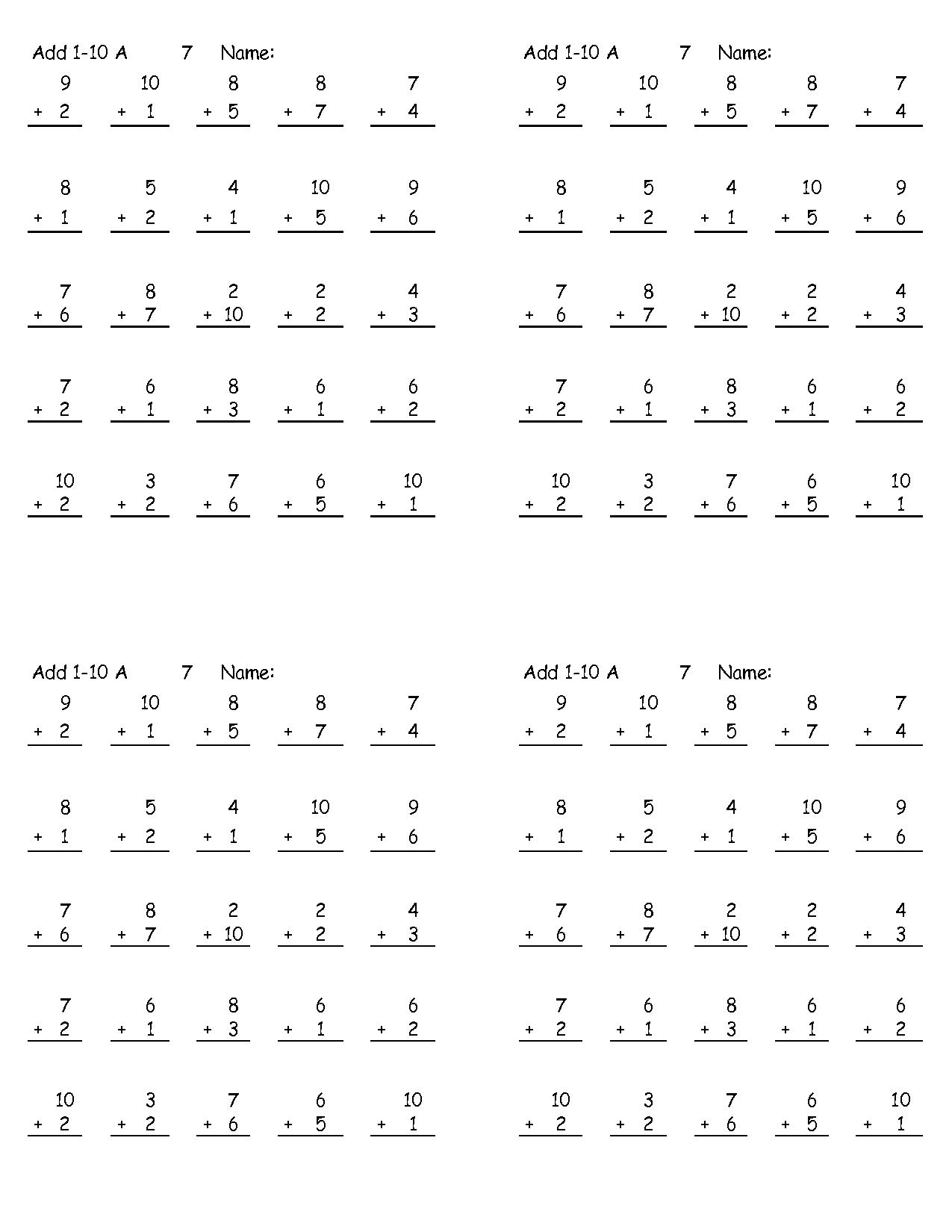 11 Best Images Of Printable Addition Math Worksheets