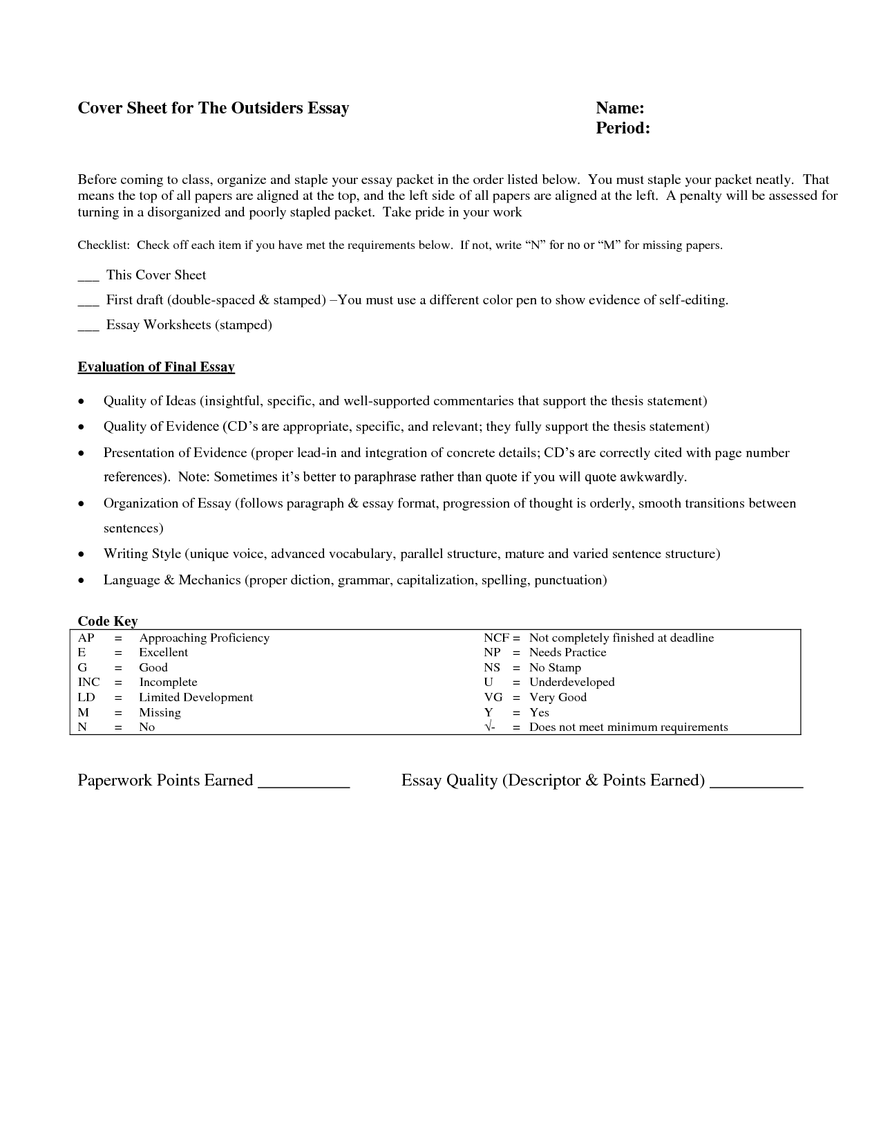 Thesis Statement Activity Worksheet