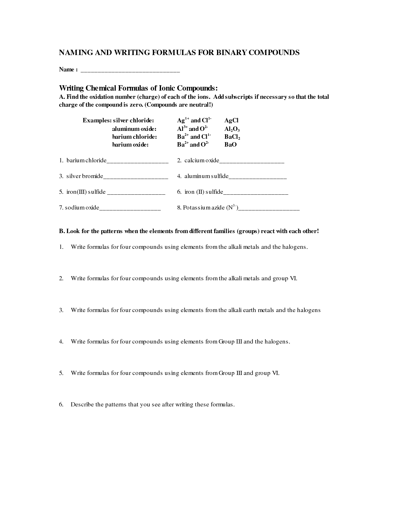 14 Best Images Of Naming Compounds Worksheet With Answers