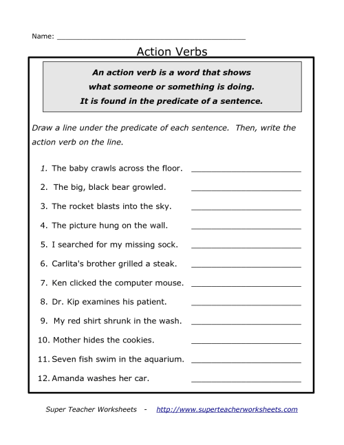small resolution of Printable Verbs Worksheet   Printable Worksheets and Activities for  Teachers