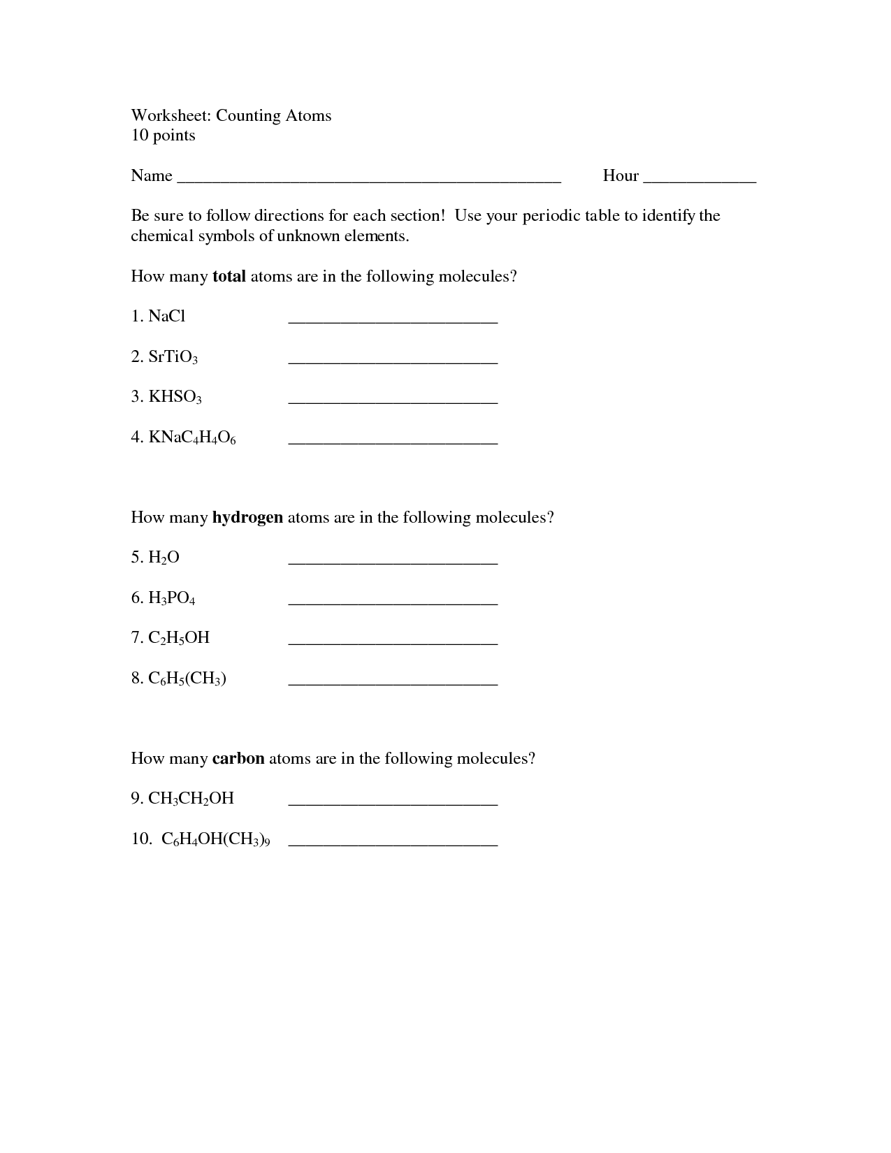 10 Best Images Of Periodic Table Questions Worksheet