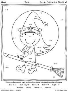 Halloween Subtraction Math Coloring Worksheets Sketch