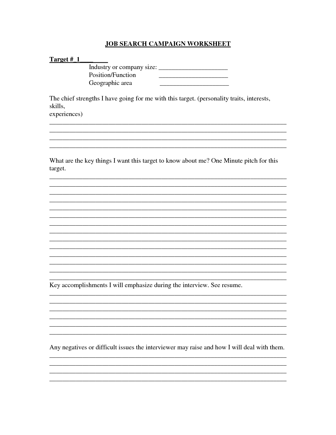 17 Best Images Of Job Search Elevator Pitch Worksheet