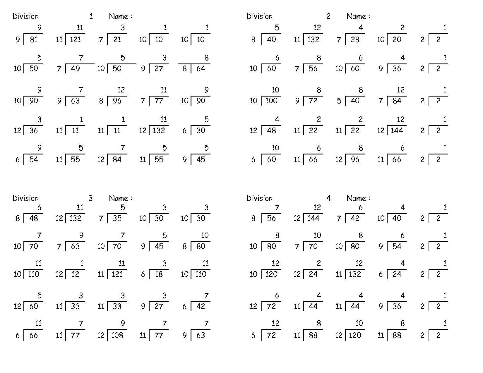 4th Grade Math Worksheets Long Division