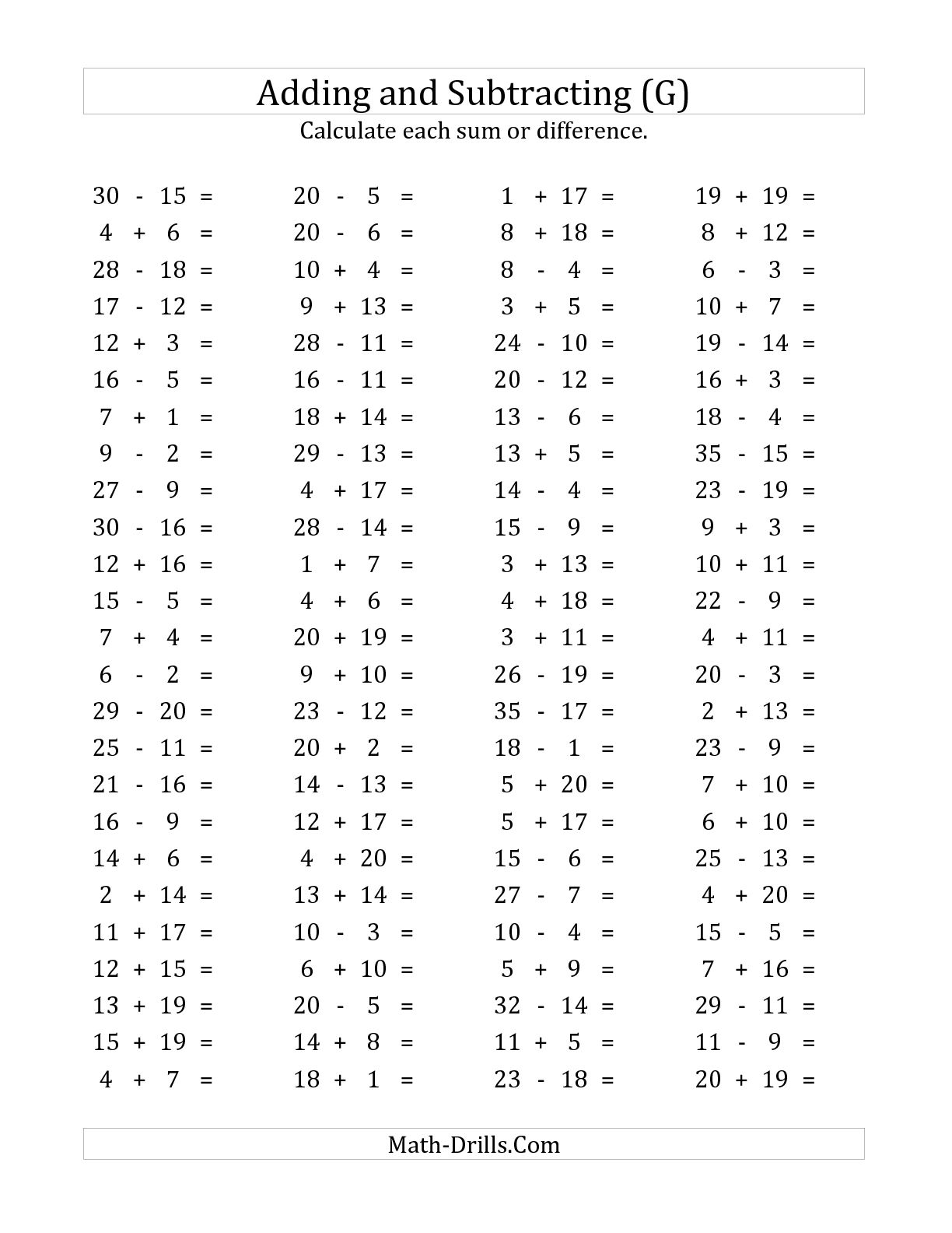 8 Best Images Of Subtraction Facts To 20 Worksheets