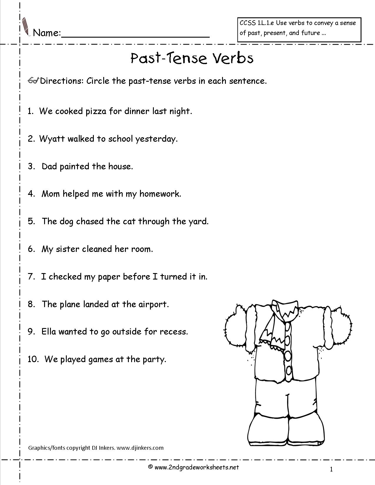 First Grade Verbs Worksheet