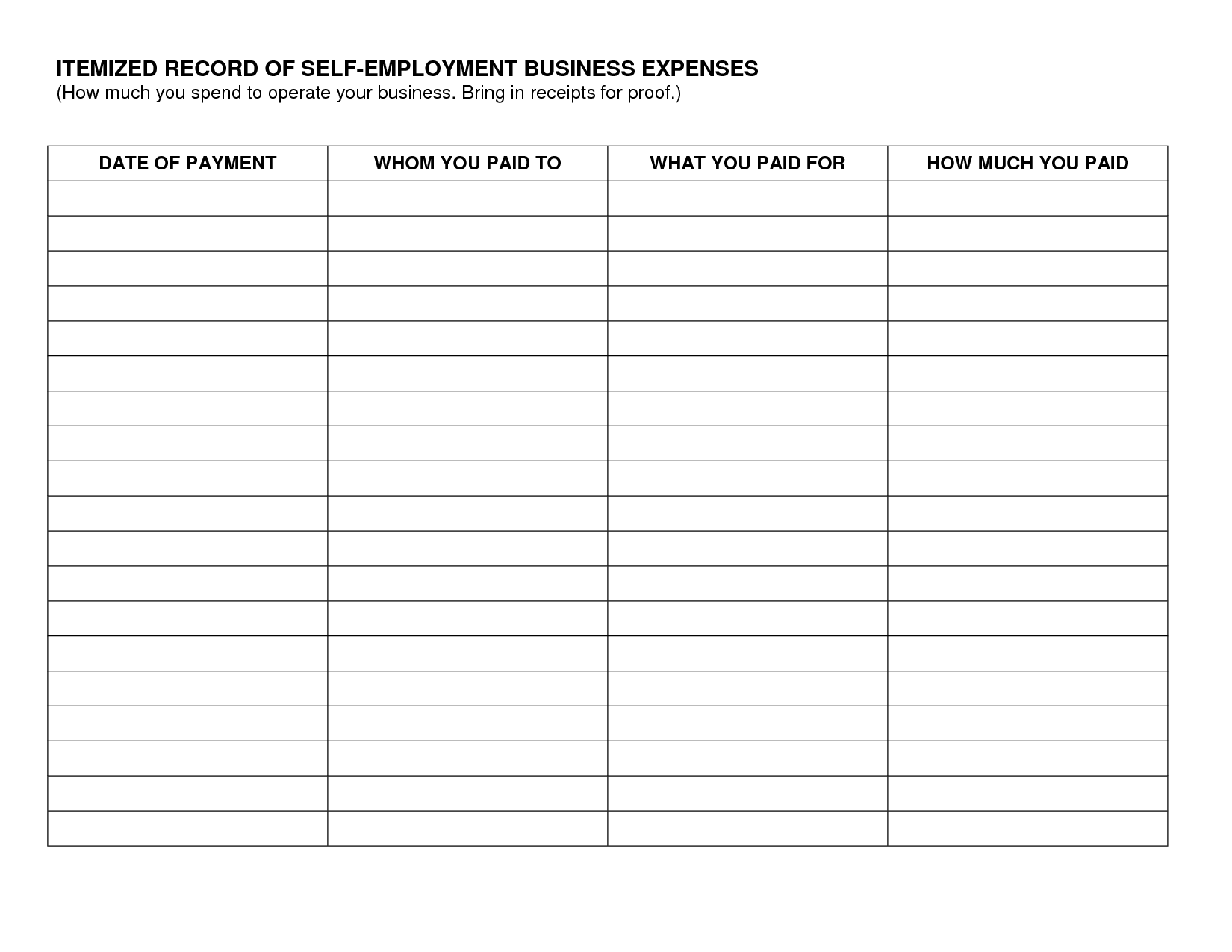 31 Self Employed Business Expenses Worksheet