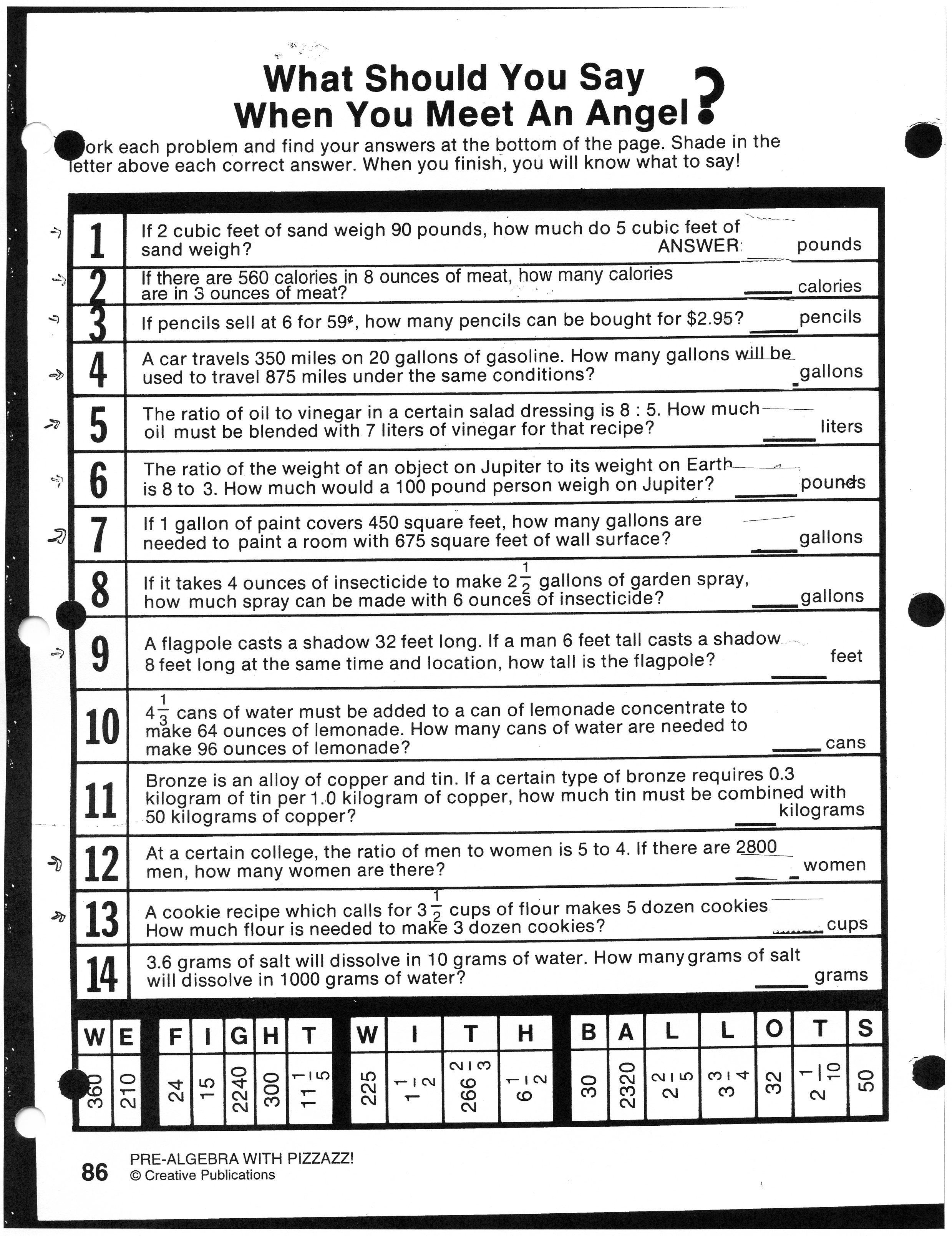 Worksheet On Ratio And Proportion