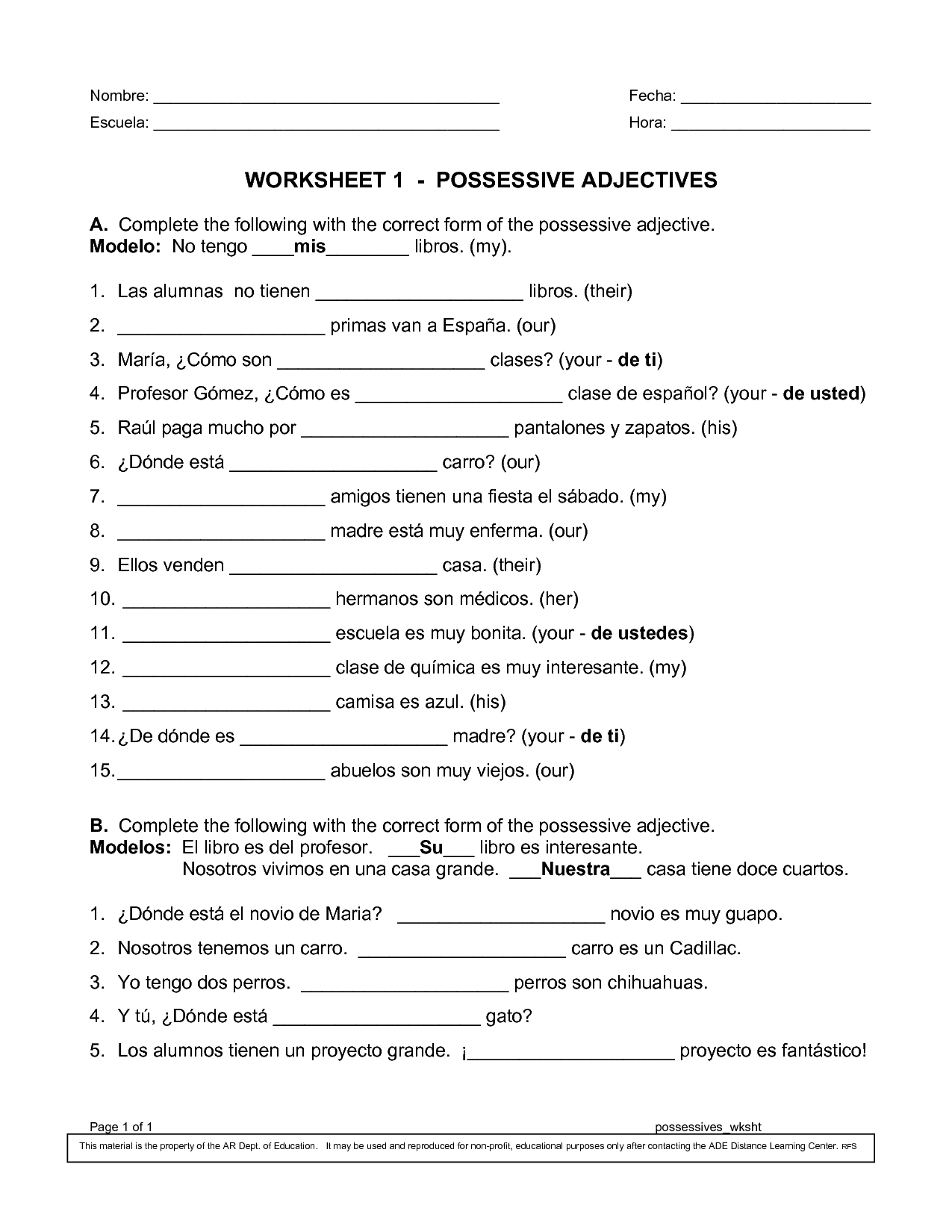 Possessive Adjectives English Grammar Exercises